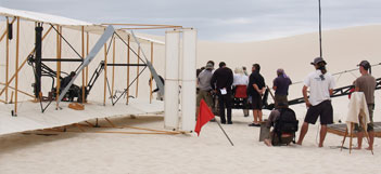 Full Scale Wright Flyer on Set During Shooting of Virgin America Commercial