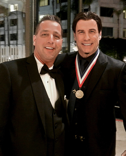 Mike & John Travolta (The Ambassador of Aviation) at the Living Legends of Aviation Awards.